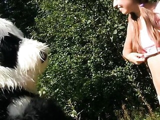 Oh no, somebody caught this busty teenage in the forest, fastened her up and left her all alone like that. Who knows what could have happen to the poor thing, but suddenly a large panda bear appeared and rescued the pretty gal. A hero merits some award, right? Something like a fun fuck would be just consummate, especially if the panda's horny as hell. His massive ding-dong marital-device made the beauty aroused too, and that babe got down to engulf it. Then that babe let the panda gangbang her with that brutal sex toy. Oh, this hawt sex play ...